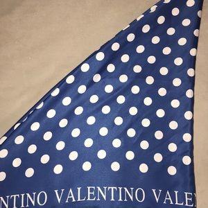 Blue & White Polka Dot Silk Valentino Scarf